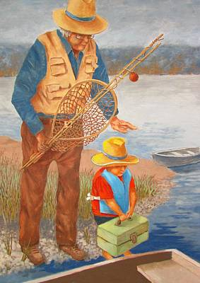 Poster featuring the painting Best Fishing Buddy by Tony Caviston