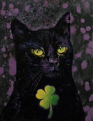 Lucky Black Cat Poster by Michael Creese