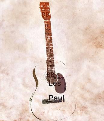 Best Guitarists Typography Warm Poster
