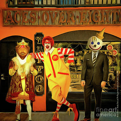 Besties Forever Ronald Jack And The King Gets Head Tattoos At The Parlor 20160625 Square Poster by Wingsdomain Art and Photography