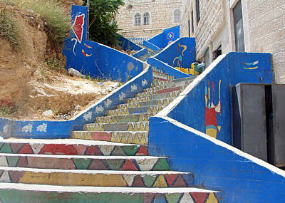 Bethlehem Colorful Stairs Poster by Munir Alawi