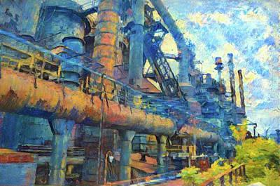 Bethlehem Steel Mill Watercolor Poster by Bill Cannon