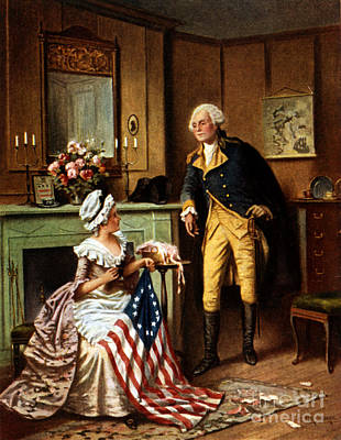 Betsy Ross And George Washington Poster