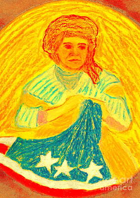 Poster featuring the painting Betsy Ross Flag Myth Or Reality by Richard W Linford