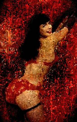 Bettie Page Painting Art Signed Prints Available At Laartwork.com Coupon Code Kodak Poster