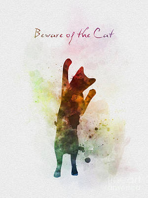 Beware Of The Cat Poster by Rebecca Jenkins