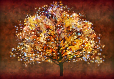Poster featuring the painting Starry Tree by Valerie Anne Kelly