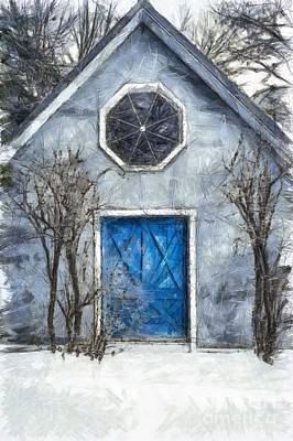 Beyond The Blue Door Pencil Poster by Edward Fielding