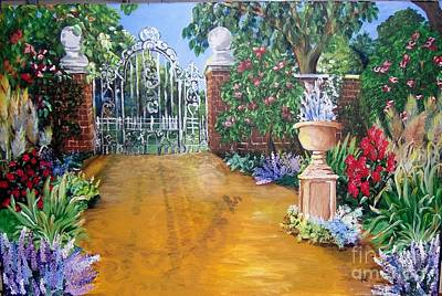 Poster featuring the painting Beyond The Gate by Saundra Johnson
