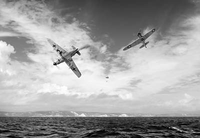 Poster featuring the photograph Bf109 Down In The Channel Bw Version by Gary Eason