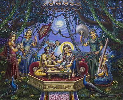 Bhojan Lila Radha Krishna Poster by Vrindavan Das