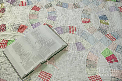 Bible On Quilt Poster