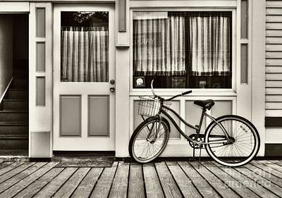 Bicycle In Skagway Sepia Tone Poster by Mel Steinhauer