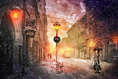 Bicycle In The Snow Poster