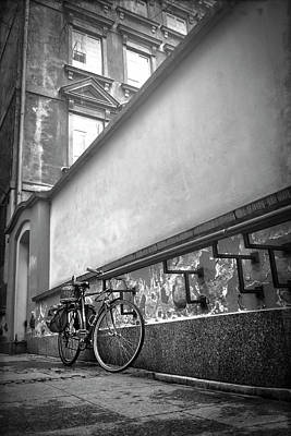 Bicycle In Warsaw Poland In Black And White  Poster