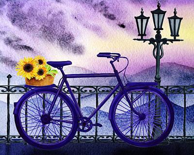 Blue Bicycle And Sunflowers By Irina Sztukowski  Poster
