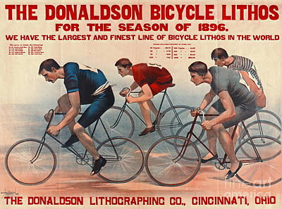 Poster featuring the photograph Bicycle Lithos Ad 1896 by Padre Art