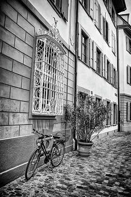 Bicycle On A Cobbled Street In Basel  Poster