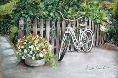 Poster featuring the painting Bicycle On Fence by Melinda Saminski