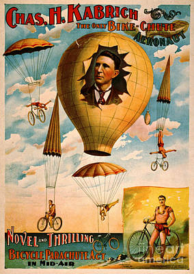 Poster featuring the photograph Bicycle Parachute Act 1896 by Padre Art