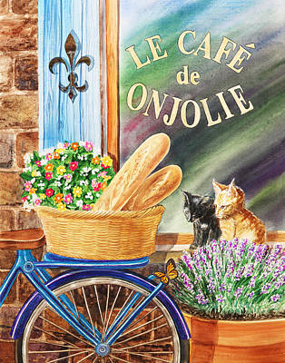 Bicycle With Basket At The Cafe Window Poster by Irina Sztukowski