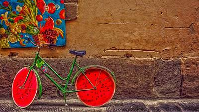 Bicycle With Watermelon Wheels Poster by Christina Gottardit