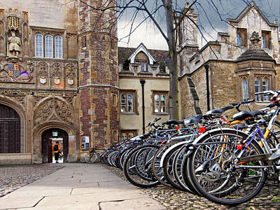 Bicycles At Trinity College Cambridge Poster by Gill Billington