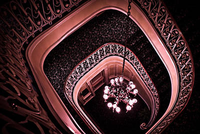 Biddle Mansion Staircase - Pink Poster