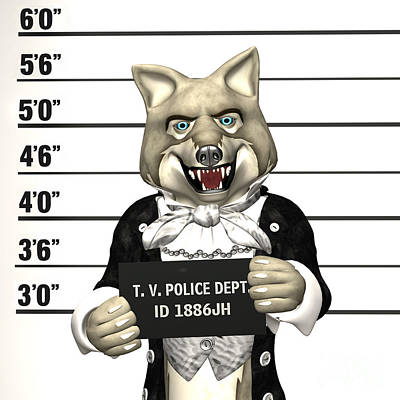 Poster featuring the digital art Big Bad Wolf Mugshot by Methune Hively