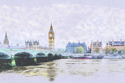 Big Ben And Westminster Bridge London England Poster