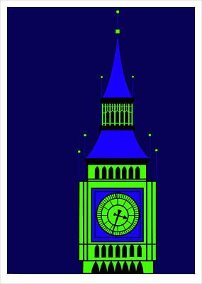 Big Ben By Night Poster by Asbjorn Lonvig