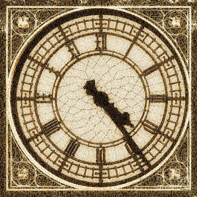 Poster featuring the photograph Big Ben Clock Color By Numbers 20161115 Sepia by Wingsdomain Art and Photography