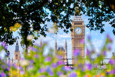 Big Ben,, London Uk. View From A Public Garden With Flowers And Trees Poster by Michal Bednarek