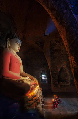 Big Buddha Statue And Mini Monk I Poster by Anek Suwannaphoom