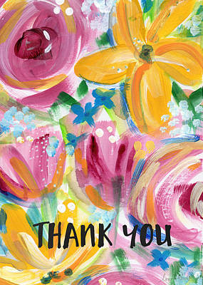 Big Colorful Flowers Thank You Card- Art By Linda Woods Poster by Linda Woods