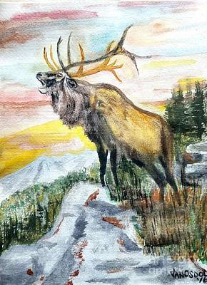 Big Elk Mountain - Original Watercolor Poster