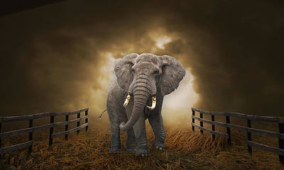 Poster featuring the mixed media Big Entrance Elephant Art by Marvin Blaine