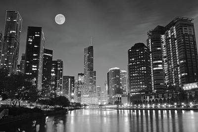 Big Full Chicago Moon  Poster by Frozen in Time Fine Art Photography