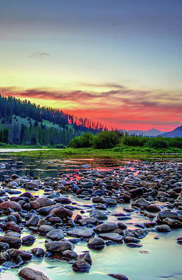 Big Hole River Sunset Poster