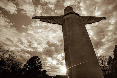 Big Jesus - Christ Of The Ozarks In Sepia Poster by Gregory Ballos