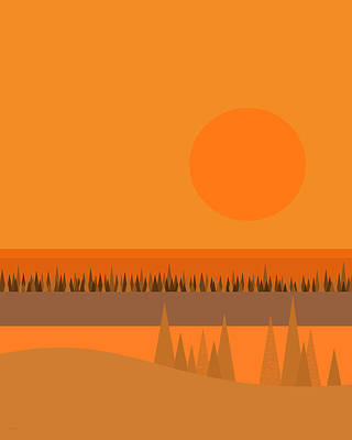 Poster featuring the digital art Big Orange Sun by Val Arie