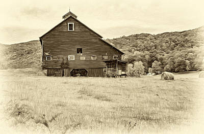 Big Red Barn - Sepia Poster