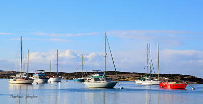 Big Red Boat Morro Bay Harbor Poster by Barbara Snyder