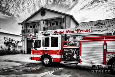 Poster featuring the photograph Big Red Fire Truck by Mel Steinhauer