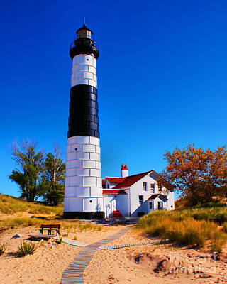 Big Sable Point Lighthouse Poster by Nick Zelinsky