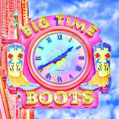 Big Time Boots - Nashville Hot Pink Poster by Stephen Stookey