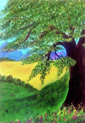 Poster featuring the painting Big Tree In Meadow by Sonya Nancy Capling-Bacle