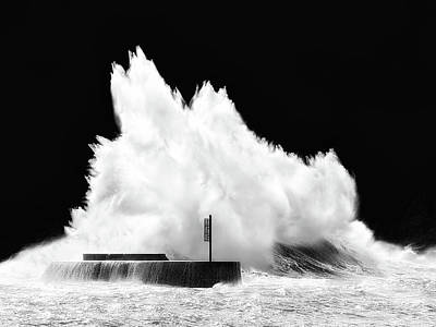 Big Wave Breaking On Breakwater Poster
