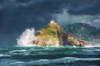 Big Waves Over San Juan De Gaztelugatxe Poster