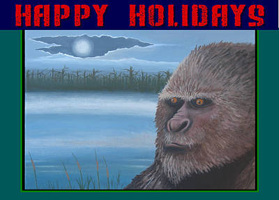 Poster featuring the painting Bigfoot Happy Holidays by Stuart Swartz